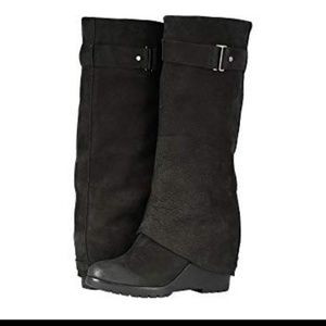 sorel black wedge after-hour tall boots 7.5 & 9.5